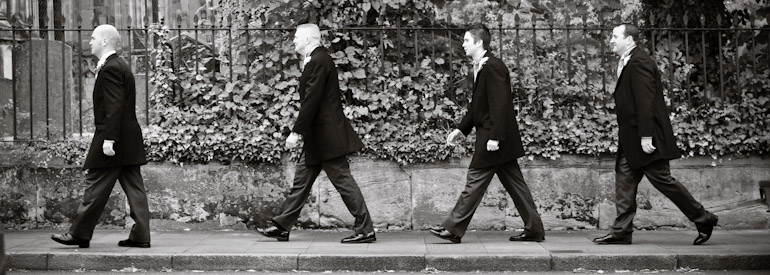 Stags on their way to a wedding in Warwick, Abbey Road style
