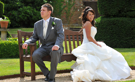Bride and Groom in the Garden at Billesley Manor Hotel