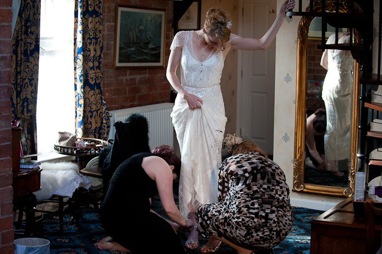 Wedding Photography: Bridal preparations at Wroxall Abbey, Warwickshire