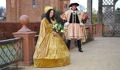 Medieval Bride and Groom outside Kenilworth Gatehouse