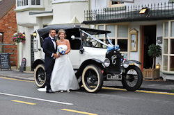 Wedding Couple outside Harringtons Kenilworth