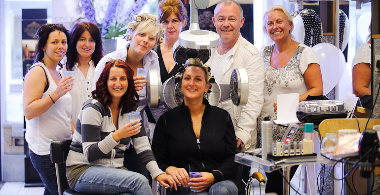 Wedding Photography: Bride and her party at Christian Hair and Beauty, Kenilworth, Warwickshire