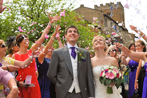 Wedding Couple with Confetti