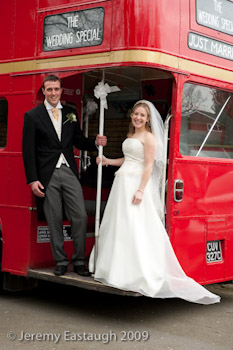 Bridal Couple on London Bus